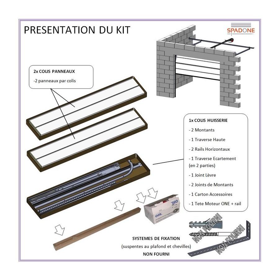 Porte sectionnelle cassette aspect bois blanche - Pose de porte de garage sectionnelle motorisee ...