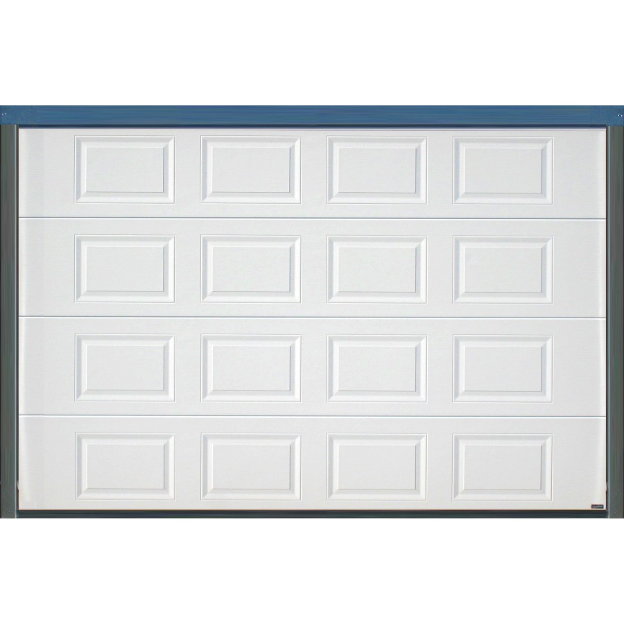 Porte sectionnelle cassette aspect bois blanche for Largeur porte garage standard