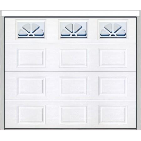 Porte sectionnelle finition woodgrain avec hublots rectangulaires