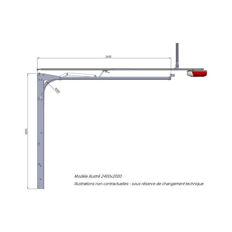 Porte sectionnelle cassette aspect bois blanche - Rail de porte de garage ...