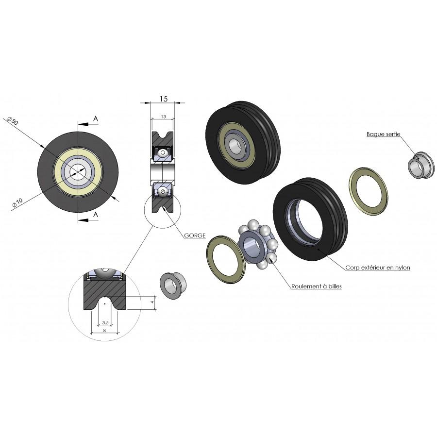 Poulie Nylon Simple Gorge Pour Porte De Garage Diam 232 Tre 50mm