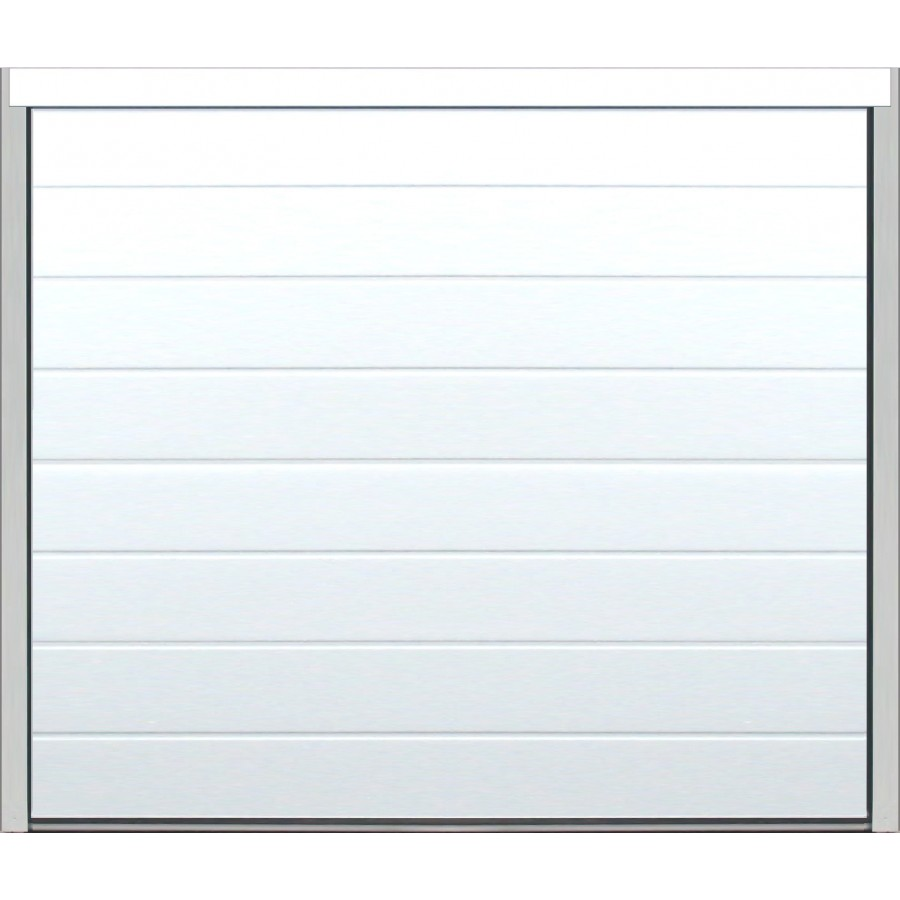 Porte sectionnelle isol e rainure woodgrain blanche for Porte de garage sectionnelle isolante
