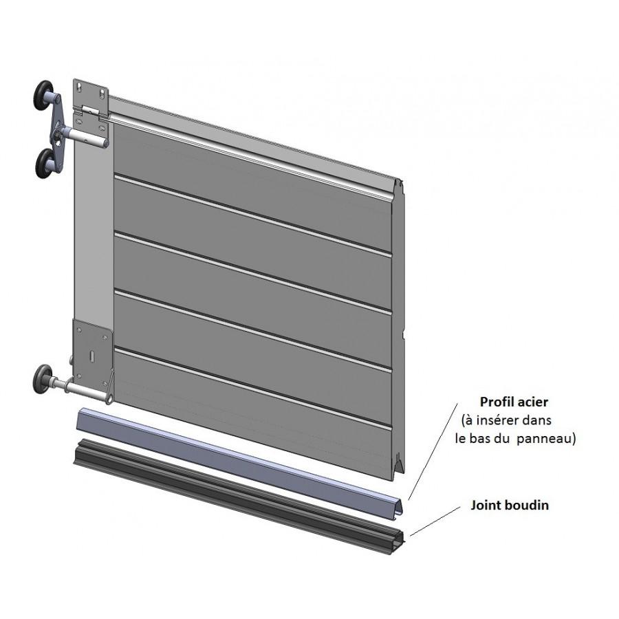 Profil acier support joint boudin pour porte de garage for Notice de pose porte de garage sectionnelle novoferm