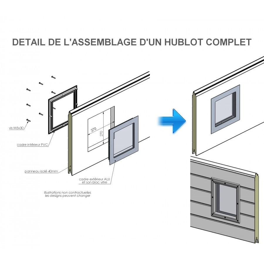 Hublot Pour Porte De Garage En Aluminium Brossé - Hublot pour porte de garage