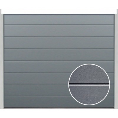 Porte sectionnelle velocia rainure woodgrain gris for Avis porte de garage sectionnelle leroy merlin