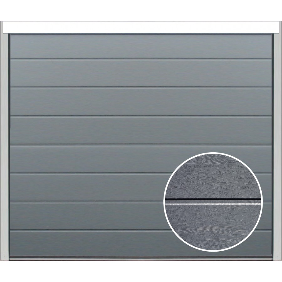 Porte sectionnelle velocia rainure woodgrain gris for Porte de garage harmonic