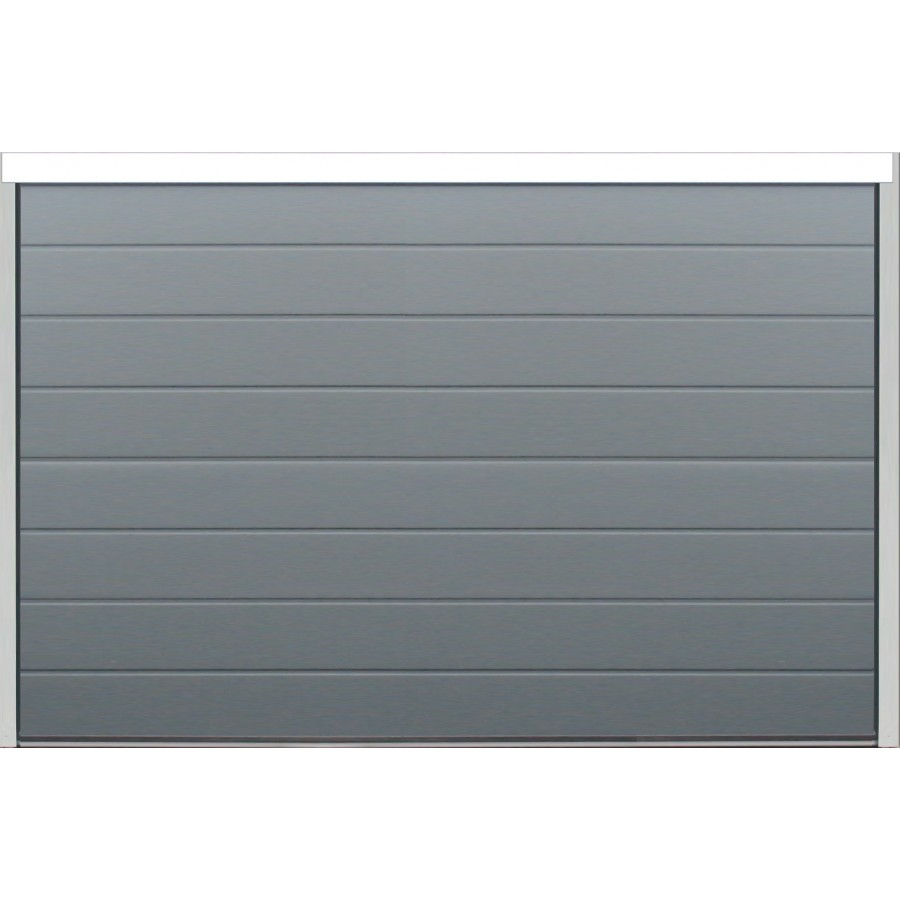 Porte sectionnelle velocia rainure woodgrain gris anthracite motoris e axone spadone - Largeur porte garage ...