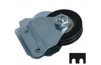 Poulie Mobile Nylon Diamètre 50mm double gorge + supports
