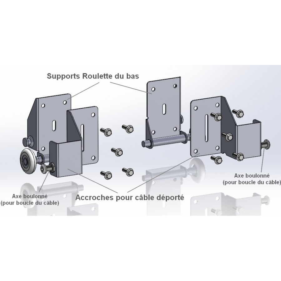 Supports roulette bas de porte de garage sectionnelle - Cable pour porte de garage sectionnelle ...