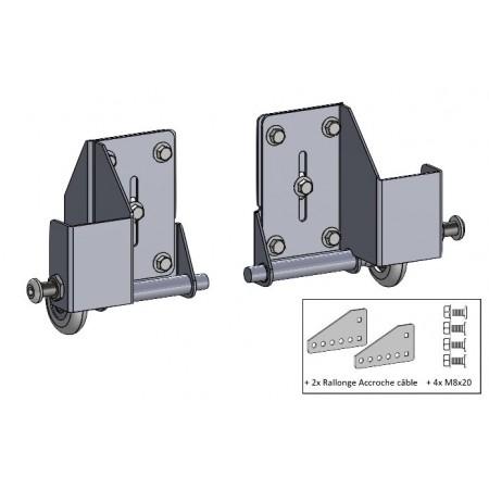 Supports roulettes sectionnelle du bas + accroche cable déporté + roulettes (la paire)