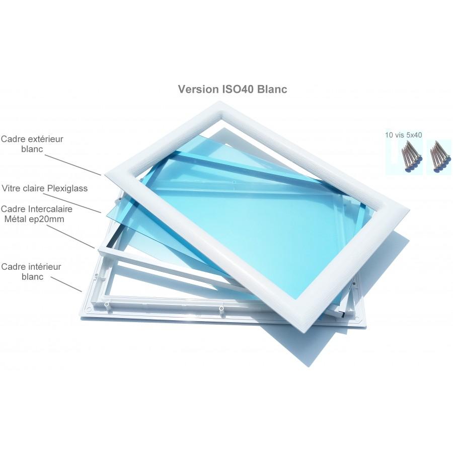 Hublot pvc blanc rectangulaire vitres transparentes 511 x for Porte de garage enroulable jumelé avec porte blindée bordeaux