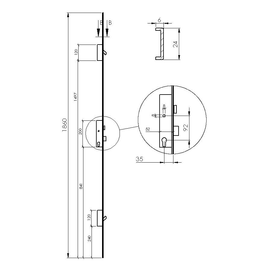 serrure 3 points pour portillon de service. Black Bedroom Furniture Sets. Home Design Ideas