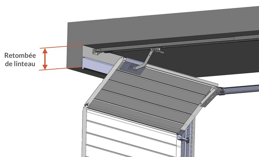 Portes de garage sectionnelles fiches techniques axone - Porte de garage sans retombee de linteau ...