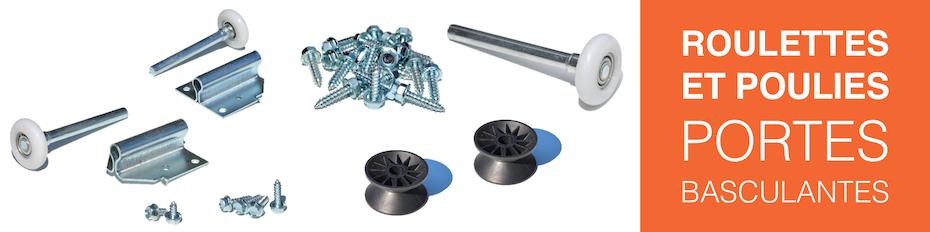 Roulettes et poulies pour porte de garage basculante